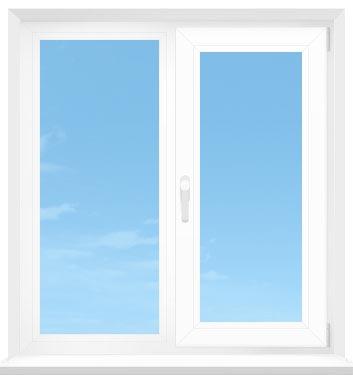 Двустворчатое окно с поворотно-откидной и глухой створками - olta.ua